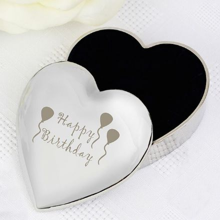 Happy Birthday Balloons Heart Trinket Box